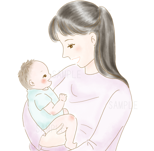 微笑み合う赤ちゃんとママ