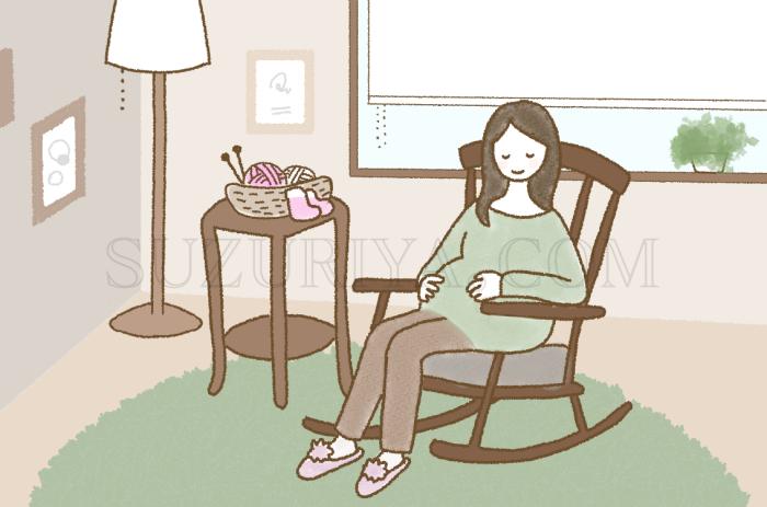 ロッキングチェアに座る妊婦さん