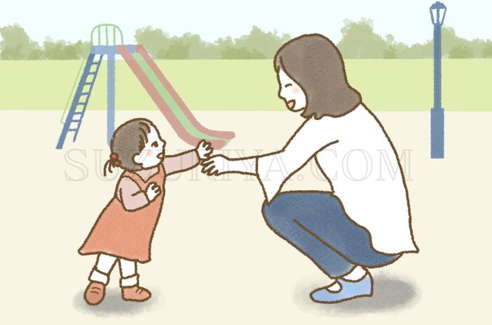 公園で遊ぶママと子ども