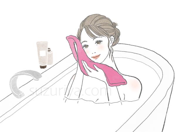 お風呂で蒸しタオルをあてる女性のイラスト