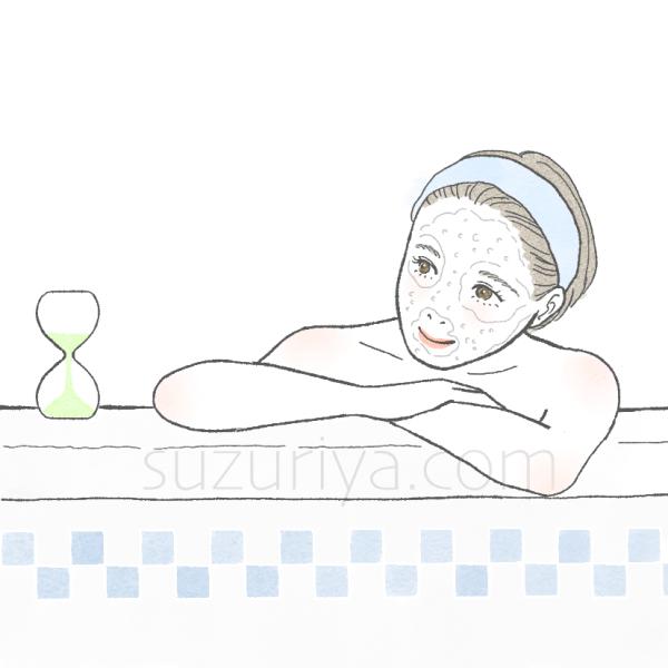 炭酸パックをしながら入浴する女性のイラスト