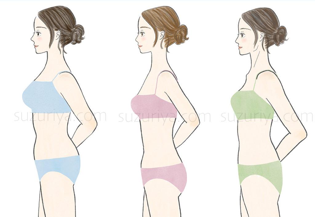 骨格診断3タイプ(横向き)の女性イラスト